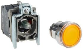 Кнопка желтая возвратная 22 мм 24В с подсветкой