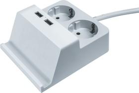 Удлинитель Navigator 61 457 NPE-USB03-02-150-E-3X1с/з 2 гн.1.5м USB2.1A