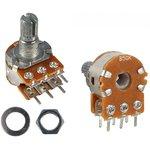 R16148-1B-2-B100K, 100 кОМ, 0.125 Вт, 20% , 6 мм, Резистор переменный
