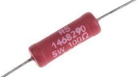 RSAWW5100R, RESISTOR AXIAL WIREWOUND 5W 100R