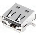 UBA-4R-S14HD-4S, Гнездо; USB A; на PCB; SMT; PIN: 4; горизонтальный; USB 2.0