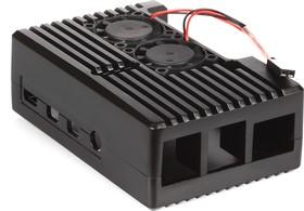 Фото 1/4 Closed Aluminium Case for Raspberry Pi 4B, Dual Fans [Black], Закрытый алюминиевый корпус для Raspberry Pi 4 с вентиляторами