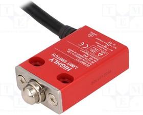 EFM-L-3-31, Концевой выключатель, толкатель 10,5мм, NO + NC, 5А, провод 2м