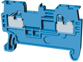 XW5T-P2.5-1.1-1BL, Клеммная колодка на DIN рейку, сквозные клеммы, 2 вывод(-ов), 26 AWG, 12 AWG, 4 мм², Вставной, 24 А