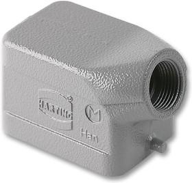 19300061440, Кожух разъема для тяжелых условий, M20 ввод сверху, 2 штыря, низкопрофильный, Серия Han B, 180°