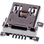 1734035-2, Разъем USB, Mini USB Типа B, USB 2.0, Гнездо, 5 вывод(-ов) ...