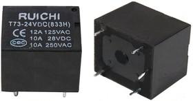 Фото 1/2 T73 24VDC (833H) 10A, Реле 1 пер. 24VDC/10A, 250VAC