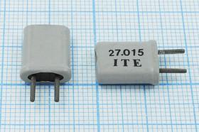 кварцевый резонатор 27.015МГц в корпусе с жёсткими выводами МА=HC25U, 3-ья гармоника, без нагрузки, 27015 \HC25U\S\ 50\\\3Г +SL (ITE)