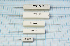Резистор проволочный мощный (цементный) SQP 10 Вт, 2.2 кОм, 5%, Р 2,2К\ 10\AXI 48,0x 9,5x 9,0\ 5\WW\2L\SQP10\
