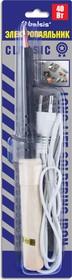 """BSI0440, Паяльник 40 Вт, классическая деревянная ручка. Жало """"лопатка"""" медный сплав"""". Спиральный нагреватель"""