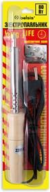 """BSI0280, Паяльник 80 Вт, деревянная ручка. Долговечное жало """"Конус"""". Спиральный нагреватель (ЭПСН). Блистер"""