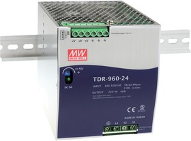 Фото 1/2 TDR-960-24, Блок питания, вход:3х фазное 340-550В,выход 24В,40А,960Вт