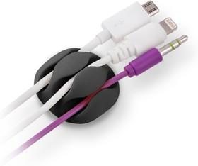 Фото 1/2 CM1103B, Зажим кабельный, тройной, круглый, приклеивающийся, черный