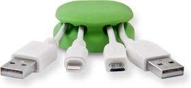 Фото 1/2 CM1105G, Зажим кабельный 4-х закругленный, утяжеленный, приклеивающийся, зеленый