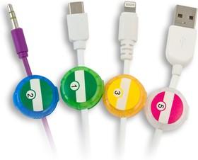 """Фото 1/2 CM1304MX, Маркер для кабеля, многоразовый, тип """"клипса"""" круглая со стикером, цветной"""