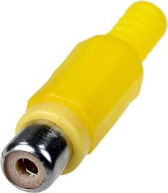 1-201 YE (RP-406), гнездо RCA пластик на кабель желтый
