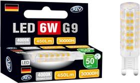 Лампа светодиодная REV RITTER 32384 6 jcd g9 6w 360лм 4000k холодный свет 220v