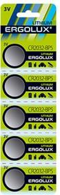 Ergolux.CR2032 BL-5 CR2032-BP5, батарейка литиевая,3V 12051