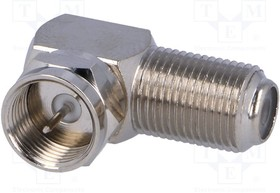 F5072A2NPPT75, Соединитель; F гнездо,F вилка; угловой 90°; 75Ом; полипропилен