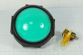 Фото 1/2 Кнопка с подсветкой зелёного цвета Большого размера, диаметр 80мм,220В/5А, ПКн\220\ 5,0\OFF-(ON)\d24\ IL12Взел\5P\Dome Type\
