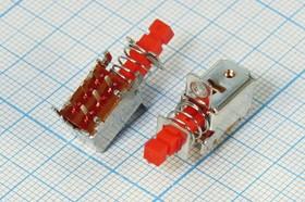 Переключатель кнопочный красный ( с фиксацией) 50В/0,3А ПКнTV\ 50\ 0,3\ON-ON\\кр\6P6HP\ PS-12E02L\угловой