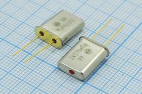 кварцевый резонатор 24.576МГц в позолоченных корпусе HC49U, без нагрузки, 24576 \HC49U\S\ 30\\РК374МД\1Г Буж зол