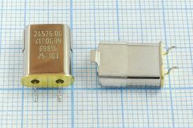 кварцевый резонатор 24.576МГц в позолоченных SMD корпусе HC49U, 24576 \SMC49U\30\ 20\ /-20~70C\\1Г (24.57600)