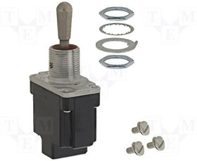 1TL1-8, Switch Toggle (ON) ON SPDT Round Lever Screw 15A 277VAC 250VDC 372.85VA Panel Mount with Threads