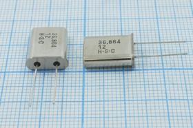 кварцевый резонатор 36.864МГц в корпусе HC49U, 3-ья гармоника, под нагрузку 12пФ, 36864 \HC49U\12\\\\3Г (HSC)