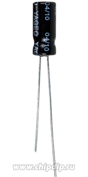 ECAP (К50-35), 10 мкФ, 25 В, 105°C, Конденсатор электролитический алюминиевый