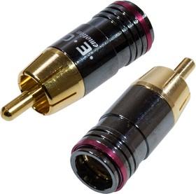 """1-256G RED, штекер RCA металл на кабель, красный """"позолоченный"""""""