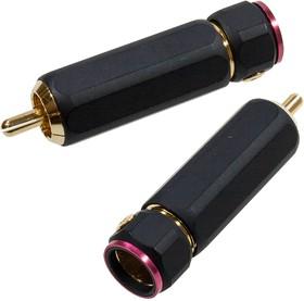 """1-280G RED, штекер RCA металл цанга на кабель до 11мм красный """"позолоченный"""""""