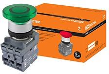 SQ0747-0031, МРМ1-11G(LED), кнопка грибовидная в сборе d40мм/220B 1з+1р зеленая