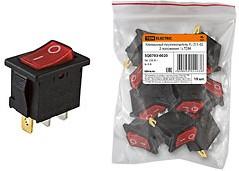 Фото 1/2 YL-211-02, переключатель черный корпус красная клавиша 2 пол.1з SQ0703-0020