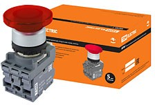 SQ0747-0033, МРМ1-11R(LED), кнопка грибовидная в сборе d40мм/220B 1з+1р красная