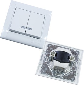 42001023, Выключатель 2 кл с подсветкой встроенный монтаж