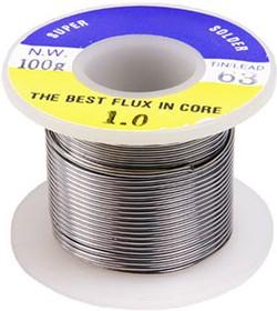 SOLD.WIRE, 1.0MM, 100GM/ROLL (SN 63%), 63%Sn припой-проволочный 1мм с канифолью 100г