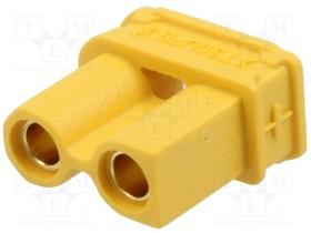 "XT30UPB-F, Гнездо; питания DC; XT30; ""мама""; PIN:2; на PCB; THT; Цвет: желтый"