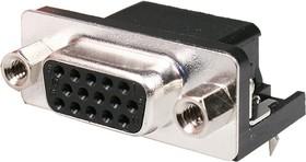 DHR-15F, гнездо D-SUB 15 pin на плату высокой плотности