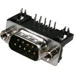 DRB-9MA, вилка D-SUB 9 pin на плату угловая 7.2мм