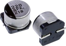 Фото 1/2 EEEFK1A221P, электролитический конденсатор SMD 220мкФ, 10В 8x6.2