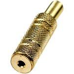 """1-035G, гнездо аудио 2.5мм стерео металл на кабель """"позолоченный"""""""