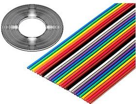 Фото 1/2 3302-26/100SF, плоский цветной кабель 1.27мм 26 жил 31 м