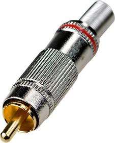 """1-218G, штекер RCA металл на кабель красный """"позолоченный"""""""