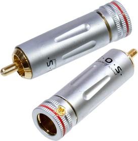 """1-222G RED, штекер RCA металл цанга на кабель d до 9.0мм красный """"позолоченный"""""""