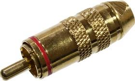 """1-284G RED, штекер RCA металл с термостойким изолятором на кабель красный """"позолоченный"""""""
