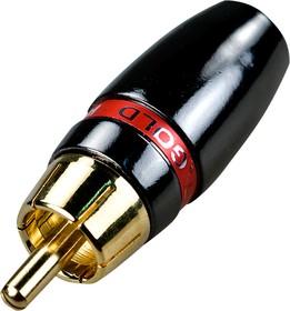 """1-266G RED, штекер RCA металл на кабель красный """"позолоченный"""""""