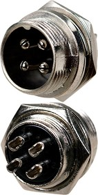 "1-562-4, разъем MIC 4pin ""штекер"" металл на корпус"