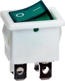 R19-20IWGNBT2-G, выключатель ON-OFF 250В 6A бел. с зел. подсв.(аналог B1151W)