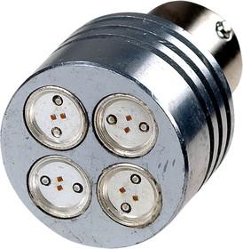 S25-RB-15S-4LED-4W-R, 12V, LED лампа красная S25 BA15S(D) Round Base 4W